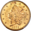 Liberty Double Eagles, 1874 $20 MS60 PCGS....