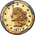 California Fractional Gold , 1871 25C Liberty Round 25 Cents, BG-861, Low R.5, MS65 Deep MirrorProoflike NGC....