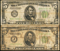 Fr. 1956-B*; J* $5 1934 Mule Federal Reserve Star Notes. Very Good or Better