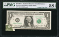 Error Notes:Foldovers, Printed Fold Error Fr. 1912-E $1 1981A Federal Reserve Note. PMGChoice About Unc 58 EPQ.. ...