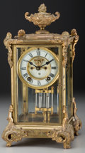 Decorative Arts, American, An Ansonia Louis XVI-Style Gilt Bronze Mantle Clock, 20th century. Marks: (A-diamond), TRADE MARK. 15 inches high (38.1 ... (Total: 3 Items)