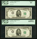 Small Size:Federal Reserve Notes, Fr. 1963-B* $5 1950B Federal Reserve Star Notes. Two Examples. PCGS Graded.. ... (Total: 2 notes)