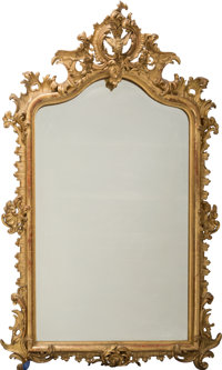 A Large Louis XVI-Style Carved and Giltwood Mirror, 19th century 77-1/4 inches high x 48-1/2 inches wide (196.2 x 123.2...