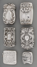 Silver Smalls:Match Safes, A Group of Six American and English Silver Match Safes, late19th/early 20th century. Marks: (various marks). 2-3/4 inches h...(Total: 6 Items)