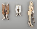 Decorative Arts, Continental, Three Figural Corkscrews: Mermaid, Ladies' Legs, late 19th century.Marks: (various). 4-1/4 inches high (10.8 cm) (tallest, ... (Total:3 Items)
