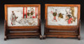 Asian:Chinese, Two Chinese Pictorial Painted Marble Table Screens, late 19th-early20th century. 9 h x 9-1/2 w x 3-7/8 d inches (22.9 x 24.... (Total:4 Items)
