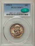 Washington Quarters, 1954-S 25C MS67+ PCGS. CAC. PCGS Population: (88/1 and 13/0+). NGCCensus: (272/2 and 3/0+). Mintage 11,834,722. ...