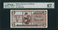 Military Payment Certificates:Series 661, Series 661 $5 PMG Superb Gem Unc 67 EPQ.. ...