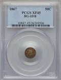 California Fractional Gold , 1867 50C Liberty Round 50 Cents, BG-1018, High R.4, XF45 PCGS. PCGSPopulation: (1/63). NGC Census: (0/10). ...