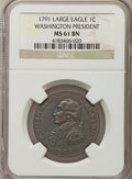 Colonials, 1791 CENT Washington Large Eagle Cent MS61 Brown NGC. NGC Census: (6/17). PCGS Population: (1/80). ...