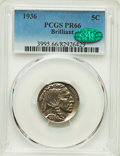 Proof Buffalo Nickels, 1936 5C Type Two -- Brilliant Finish PR66 PCGS. CAC....