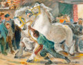 Fine Art - Painting, American:Modern  (1900 1949)  , Cecil Crosley Bell (American, 1906-1970). New York Horse Auction(Team at Auction), circa 1950. Oil on board. 14 x 18 in...