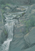 Fine Art - Work on Paper, Paul Cadmus (American, 1904-1999). Vermont Waterfall #1.Pastel on paper. 12-7/8 x 9-1/4 inches (32.7 x 23.5 cm) (sheet)...