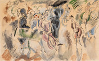 Jules Pascin (American, 1885-1930) Club New York, circa 1917 Watercolor and ink on paper 7-1/2 x