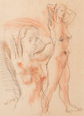Fine Art - Work on Paper:Drawing, Moses Soyer (American, 1899-1974). Nude Model. Charcoal onpaper. 21-1/2 x 16-7/8 inches (54.6 x 42.9 cm) (sheet). Signe...