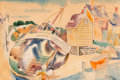 Fine Art - Work on Paper:Watercolor, Jan Matulka (American, 1890-1972). Seaside Village.Watercolor and pencil on paper. 14 x 20-3/4 inches (35.6 x 52.7 cm)...