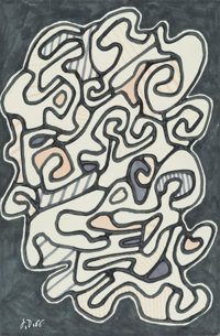 Jean Dubuffet (French, 1901-1985) La fumée, 1966 Marker on paper 9-7/8 x 6-1/2 inches (25.1 x 16