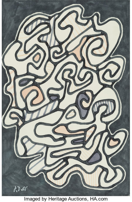 Jean Dubuffet (French, 1901-1985)La Fumée, 1966Marker on paper9-7/8 x 6-1/2 inches (25.1 x 16.5 cm) (sheet)Initi...