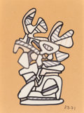 Fine Art - Work on Paper:Watercolor, Jean Dubuffet (French, 1901-1985). Monument aux Ailes. Color felt pen on paper (cut out and collaged on Kraft paper). 9-...