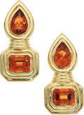 Estate Jewelry:Earrings, Citrine, Gold Earrings. ... (Total: 2 Items)