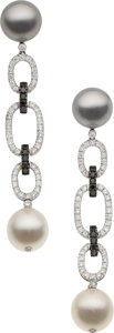 Estate Jewelry:Earrings, Diamond, Colored Diamond, Cultured Pearl, White Gold Earrings, EliFrei. ... (Total: 2 Items)