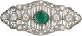 Estate Jewelry:Brooches - Pins, Art Deco Emerald, Diamond, Platinum Brooch. ...