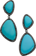Estate Jewelry:Earrings, Turquoise, Colored Diamond, Diamond, Gold Earrings, Eli Frei. ...(Total: 2 Items)