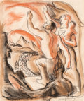 Fine Art - Work on Paper:Drawing, James Henry Daugherty (American, 1889-1974). To the PromisedLand. Crayon on beige paper. 8-1/2 x 7-1/4 inches (21.6 x 1...