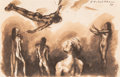 Works on Paper, Pavel Tchelitchew (American, 1898-1957). Nude Acrobats, 1934. Ink and wash on paper. 7-3/4 x 11-3/4 inches (19.6 x 29.8 ...