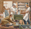 Fine Art - Work on Paper:Watercolor, Gaylord Flory (American, 1919-1982). In the Kitchen. Gouacheon paper laid on board. 12-1/2 x 13 inches (31.8 x 33 cm) (...