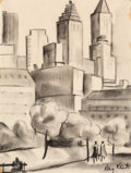 Fine Art - Work on Paper:Drawing, Kay Kato (American, 1916-2006). Central Park, Saturday EveningPost illustration. Charcoal on paper. 11 x 8-1/4 inches (...