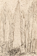 Fine Art - Work on Paper:Drawing, Abraham Walkowitz (American, 1880-1965). Skyscraper, NewYork, 1920. Ink on paper. 5-7/8 x 4 inches (14.9 x 10.2 cm)(sh...