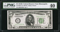 Small Size:Federal Reserve Notes, Fr. 1958-I* $5 1934B Federal Reserve Note. PMG Extremely Fine 40.. ...