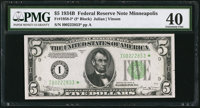 Fr. 1958-I* $5 1934B Federal Reserve Note. PMG Extremely Fine 40