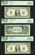 Error Notes:Ink Smears, Fr. 1909-K $1 1977 Federal Reserve Notes. Three ConsecutiveExamples. PCGS Very Choice New 64PPQ.. ... (Total: 3 notes)