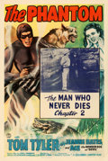 "Movie Posters:Serial, The Phantom (Columbia, 1943). One Sheet (27"" X 41"") Chapter 2--""TheMan Who Never Dies."". ..."