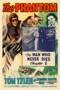 """The Phantom (Columbia, 1943). One Sheet (27"""" X 41"""") Chapter 2--""""The Man Who Never Dies."""""""