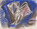 Fine Art - Work on Paper:Drawing, André Masson (French, 1896-1987). Personnage Ailé, RussianBallet Les présages illustration, 1933. Pastel and charcoalo...