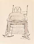 Fine Art - Work on Paper:Drawing, Ben Shahn (American, 1898-1969). Man in Rocking chair. Inkand wash on paper. 11-1/2 x 8-1/2 inches (29.2 x 21.6 cm) (si...