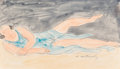 Works on Paper, Abraham Walkowitz (American, 1880-1965). Isadora Duncan in Blue. Watercolor and ink on paper. 8 x 14 inches (20.3 x 35.6...