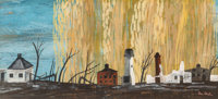 Ben Shahn (American, 1898-1969) Scorched Earth Tempera on paper 6 x 13 inches (15.2 x 33.0 cm) (s