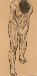Fine Art - Work on Paper:Drawing, Abraham Walkowitz (American, 1880-1965). Standing Nude,1903. Charcoal on paper. 12 x 6 inches (30.5 x 15.2 cm) (sight)...