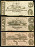 Confederate Notes:Group Lots, Trio of 1862 Treasury Notes.. ... (Total: 3 notes)