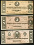 Confederate Notes:Group Lots, T71 $1 1864 PF-12 Cr. 574;. T70 $2 1864 PF-1 Cr. 569;. T70 $2 1864PF-5 Cr. 567.. ... (Total: 3 notes)