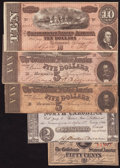 Confederate Notes:Group Lots, Five Confederate and North Carolina State Notes 1861-64.. ...(Total: 5 notes)