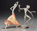 Decorative Arts, Continental, Two Karl Hagenauer Chromed Female Dancing Figures, circa 1930.Marks: WHW; WHW HAGENAUER WIEN. 11-1/4 inches high (28.6 ...(Total: 2 Items)