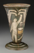 Decorative Arts, French, A P. Mercier Art Deco Dinanderie Circus Vase, circa 1925. Marks:P. MERC-IER. 13-3/8 inches high (33.8 cm). ...