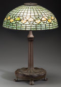 Art Glass:Tiffany , A Tiffany Studios Leaded Glass and Bronze Acorn Table Lamp,New York, circa 1910. Marks to shade: TIFFANY STUD... (Total: 2Items)