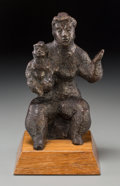 Bronze:American, Chaim Gross (American, 1904-2004). Mother and Child, 1976. Bronze with brown patina . 8-1/2 inches (21.6 cm) high on a 1...