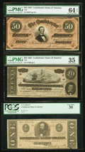 Confederate Notes:Group Lots, A Trio of 1864 Third Party Graded Confederate Treasury Notes.. ...(Total: 3 notes)